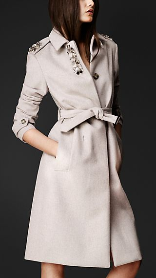 Gem-Embellished Bonded Angora Coat
