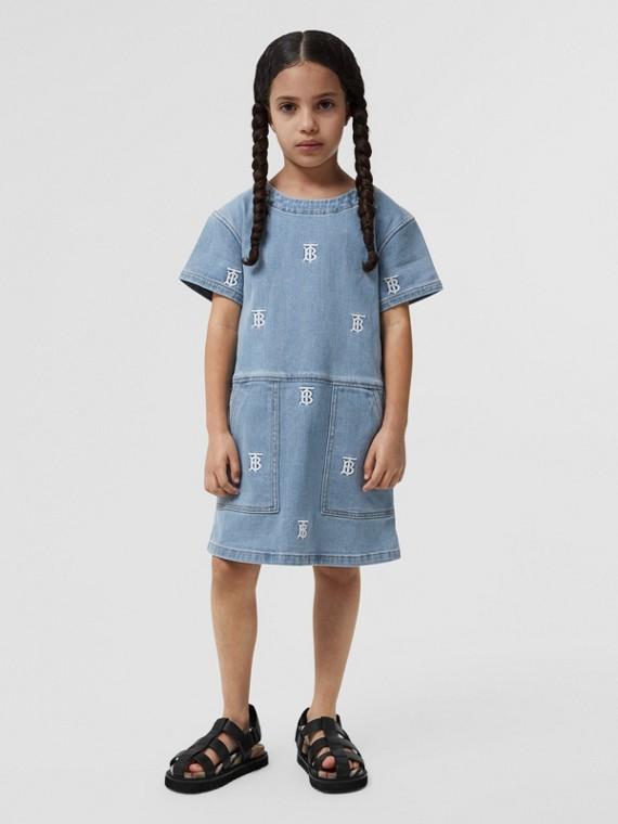 모노그램 모티프 스트레치 데님 시프트 드레스 (페일 블루)