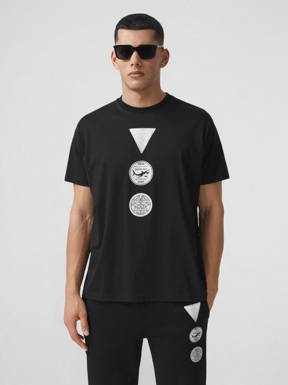 Oversize-T-Shirt aus Baumwolle mit Abzeichen (Schwarz)
