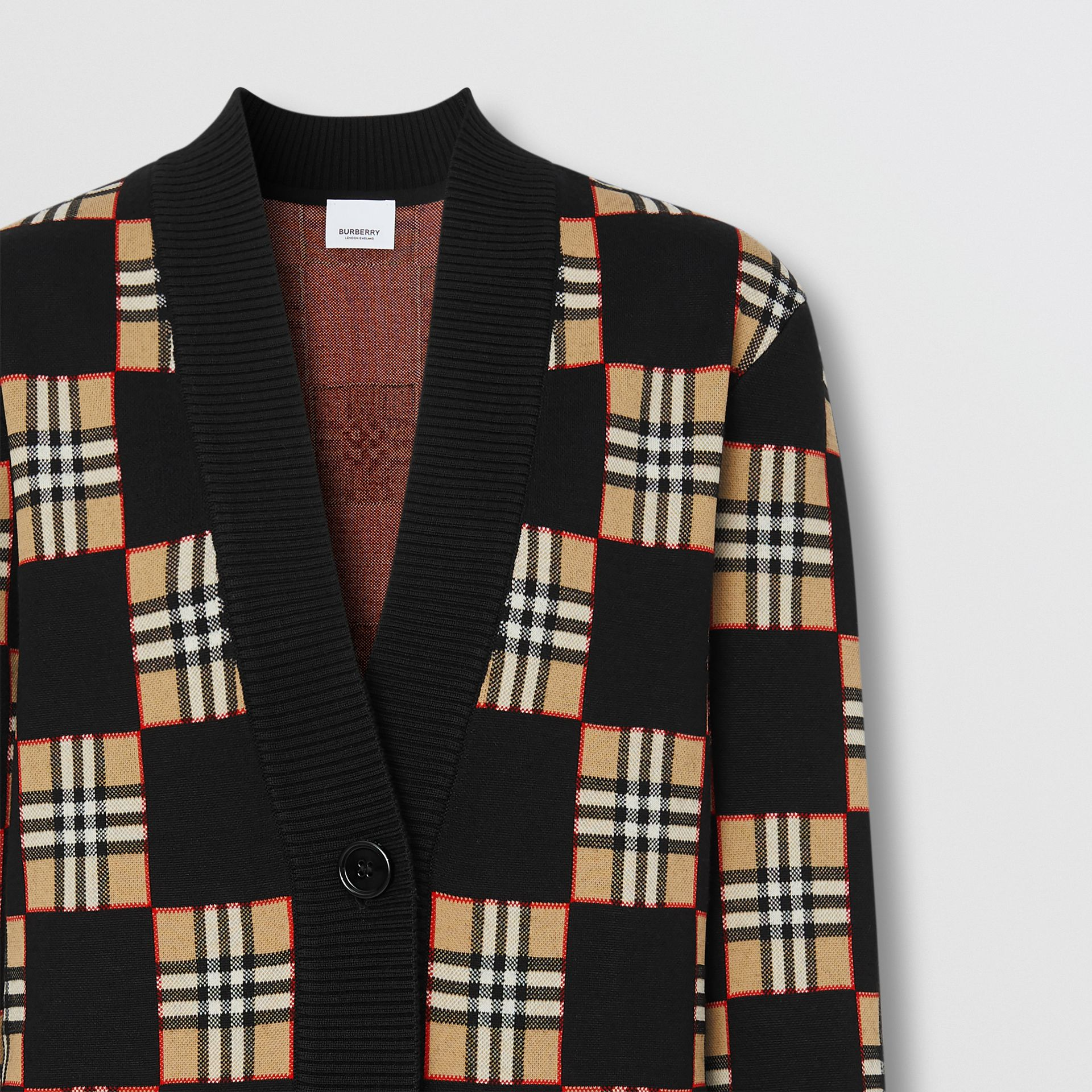 Chequer Merino Wool Blend Oversized Cardigan in Black/archive Beige - Women | Burberry United Kingdom - gallery image 2