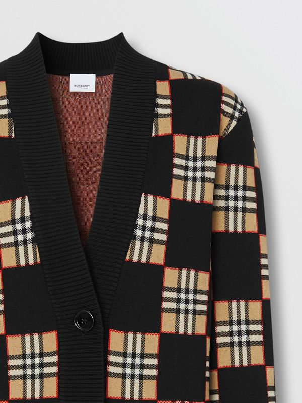 Chequer Merino Wool Blend Oversized Cardigan in Black/archive Beige - Women | Burberry United Kingdom - cell image 2