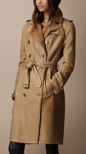 Long Shearling Lined Trench Coat