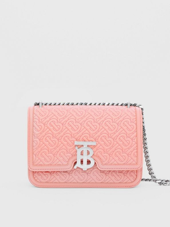 Small Quilted Monogram Lambskin TB Bag in Blush Pink