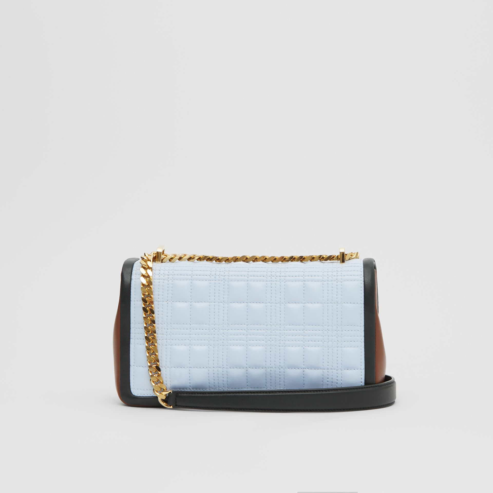 Small Quilted Tri-tone Lambskin Lola Bag in Pale Blue/dark Pine - Women | Burberry - gallery image 7