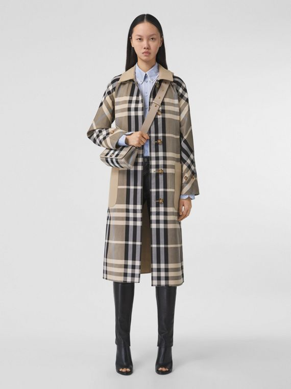 Reversible Check Cotton Car Coat in Soft Fawn