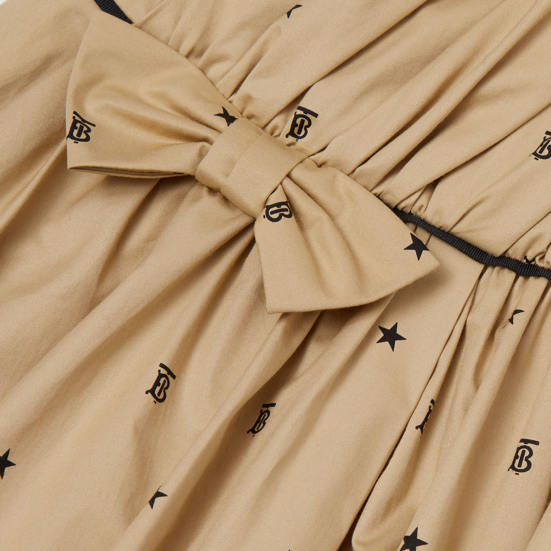 Star and Monogram Motif Stretch Cotton Dress in Sand | Burberry - gallery image 1