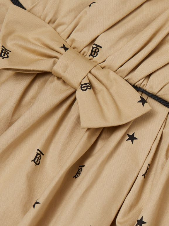 Star and Monogram Motif Stretch Cotton Dress in Sand | Burberry - cell image 1