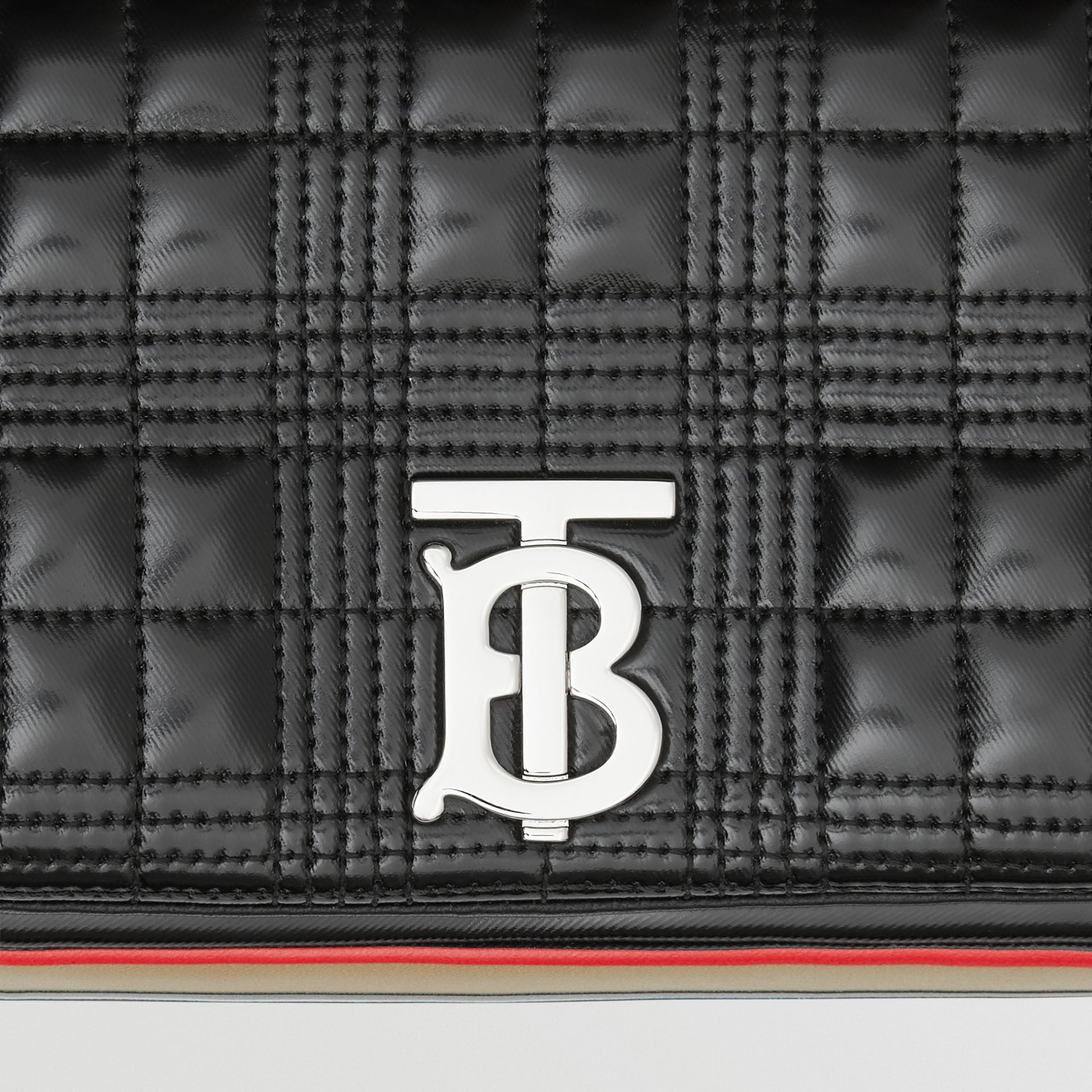 Small Icon Stripe Detail Quilted Lola Bag in Black/white - Women | Burberry United Kingdom - gallery image 1