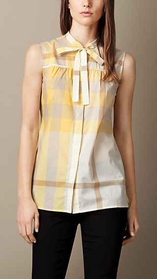 Exploded Check Cotton Voile Sleeveless Shirt