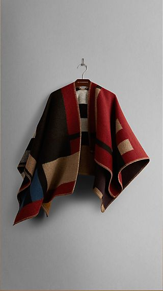 Colour Block Check Blanket Poncho
