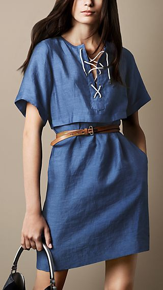 Tie-Front Linen Blend Dress