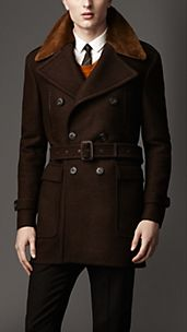 Mink Collar Wool Coat