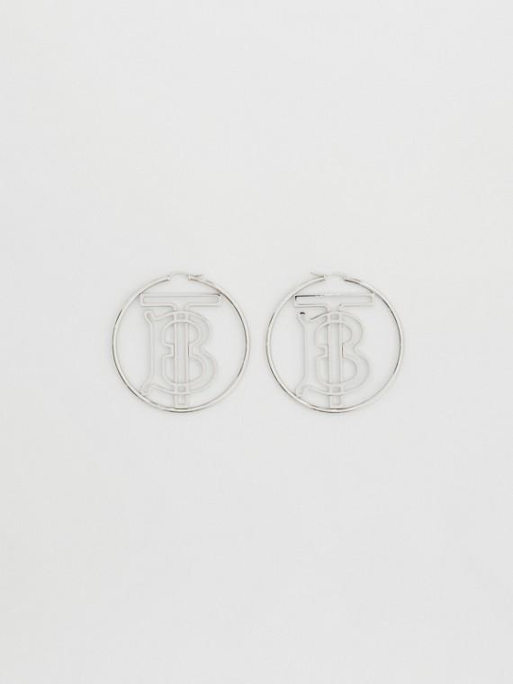 Palladium-plated Monogram Motif Hoop Earrings in Palladio