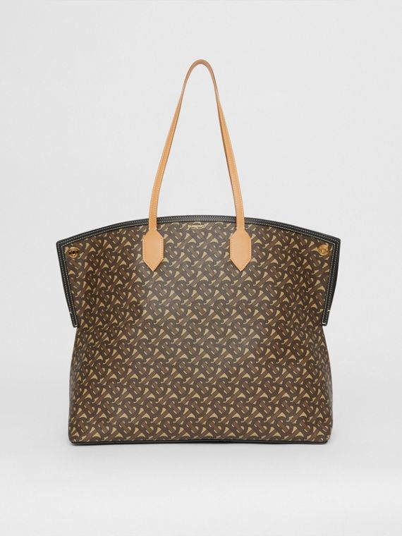 Large Monogram E-canvas Society Tote in Bridle Brown