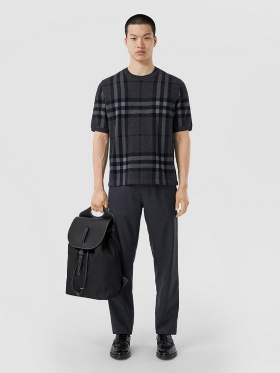 Short-sleeve Check Silk Wool Jacquard Top in Charcoal Melange