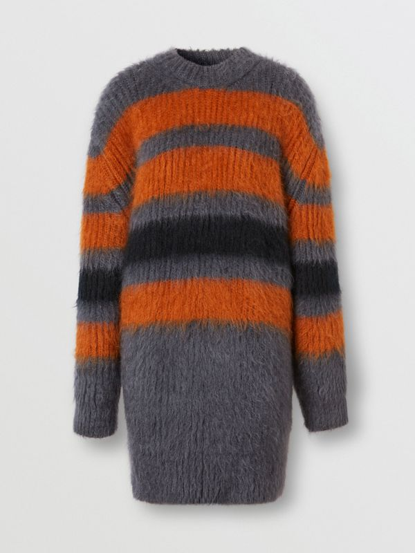Stripe Intarsia Mohair Silk Oversized Sweater in Dark Grey Melange - Women | Burberry - cell image 3