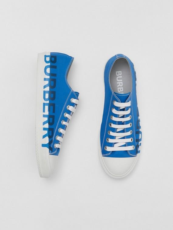 Logo Print Cotton Gabardine Sneakers in Warm Royal Blue
