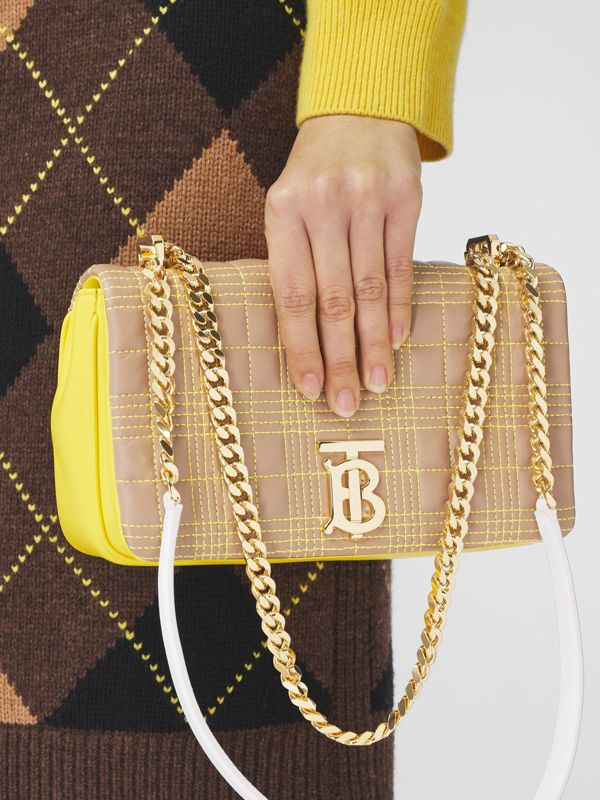 Small Quilted Tri-tone Lambskin Lola Bag in Camel/yellow - Women | Burberry Canada - cell image 2
