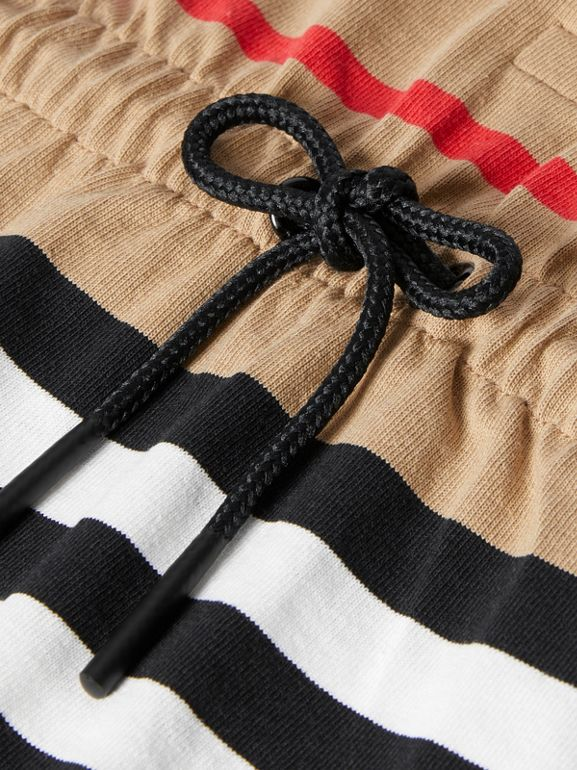 Long-sleeve Icon Stripe Cotton Dress in Archive Beige - Children   Burberry United Kingdom - cell image 1