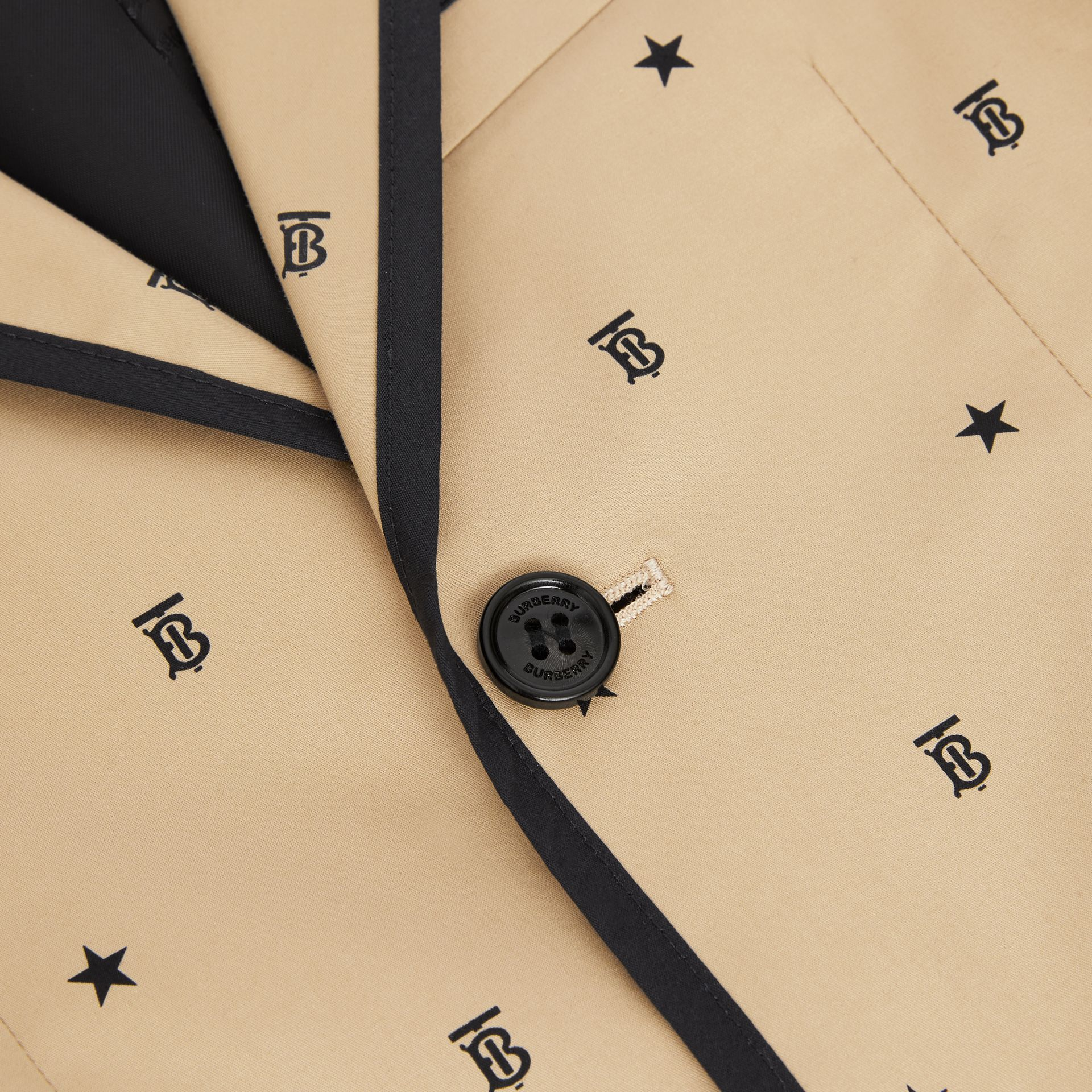 Star and Monogram Motif Stretch Cotton Blazer in Sand | Burberry - gallery image 1