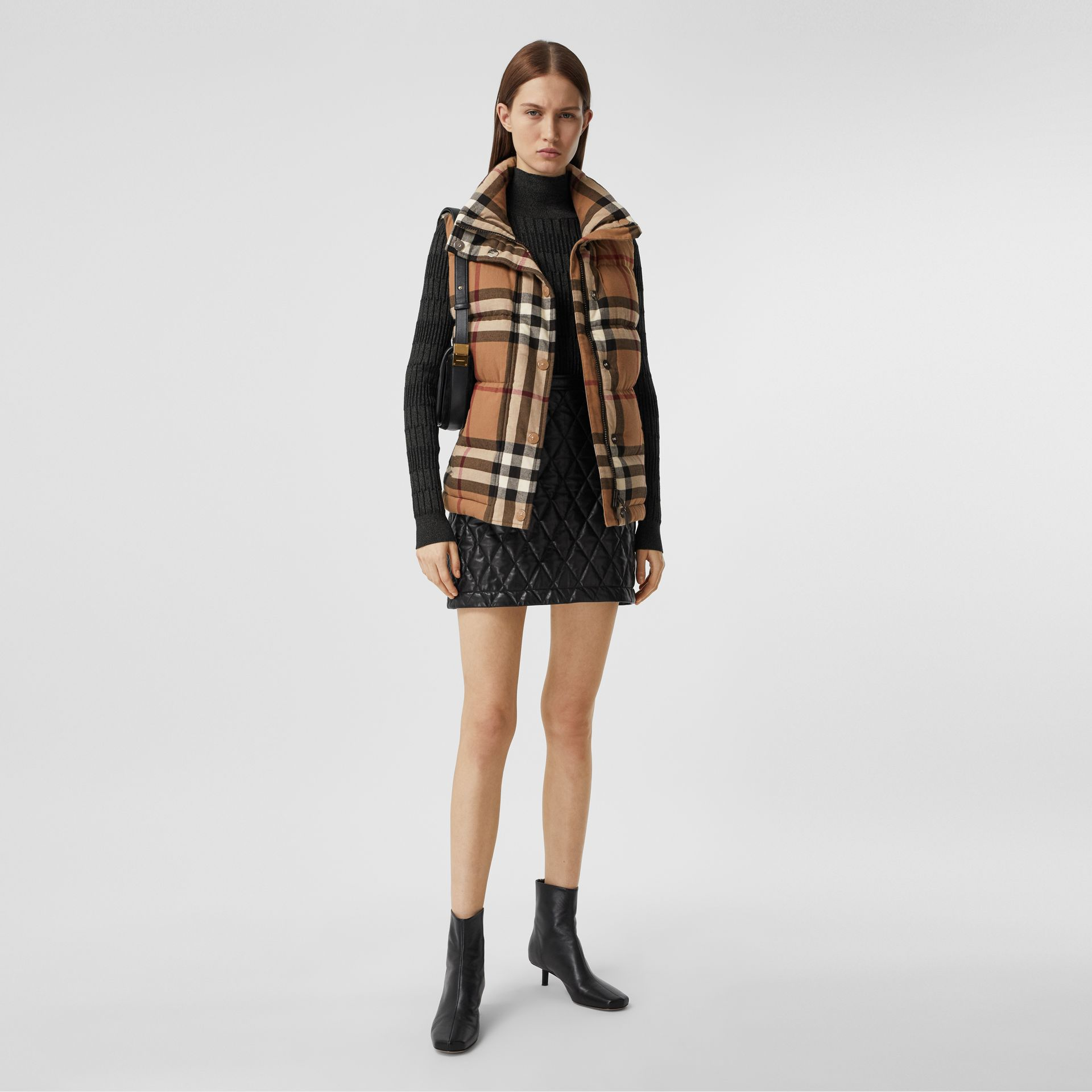 Check Cotton Flannel Puffer Gilet in Birch Brown - Women | Burberry - gallery image 0