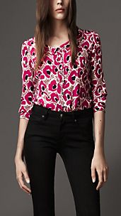 Animal Floral Print Silk Shirt