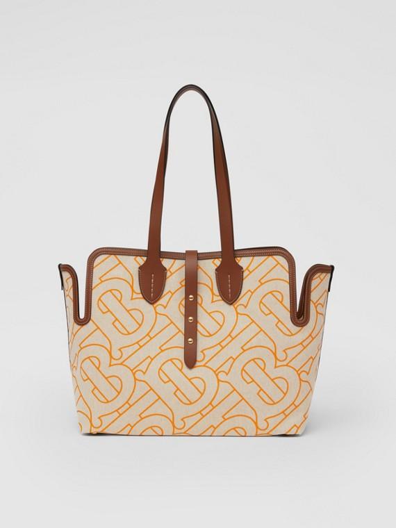 The Medium Belt Bag aus weichem Baumwollcanvas (Naturfarben/orange)