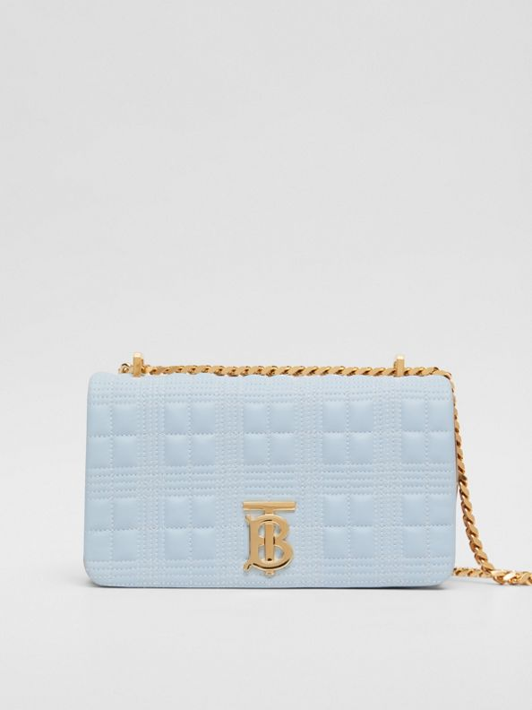 Small Quilted Tri-tone Lambskin Lola Bag in Pale Blue/camel/black