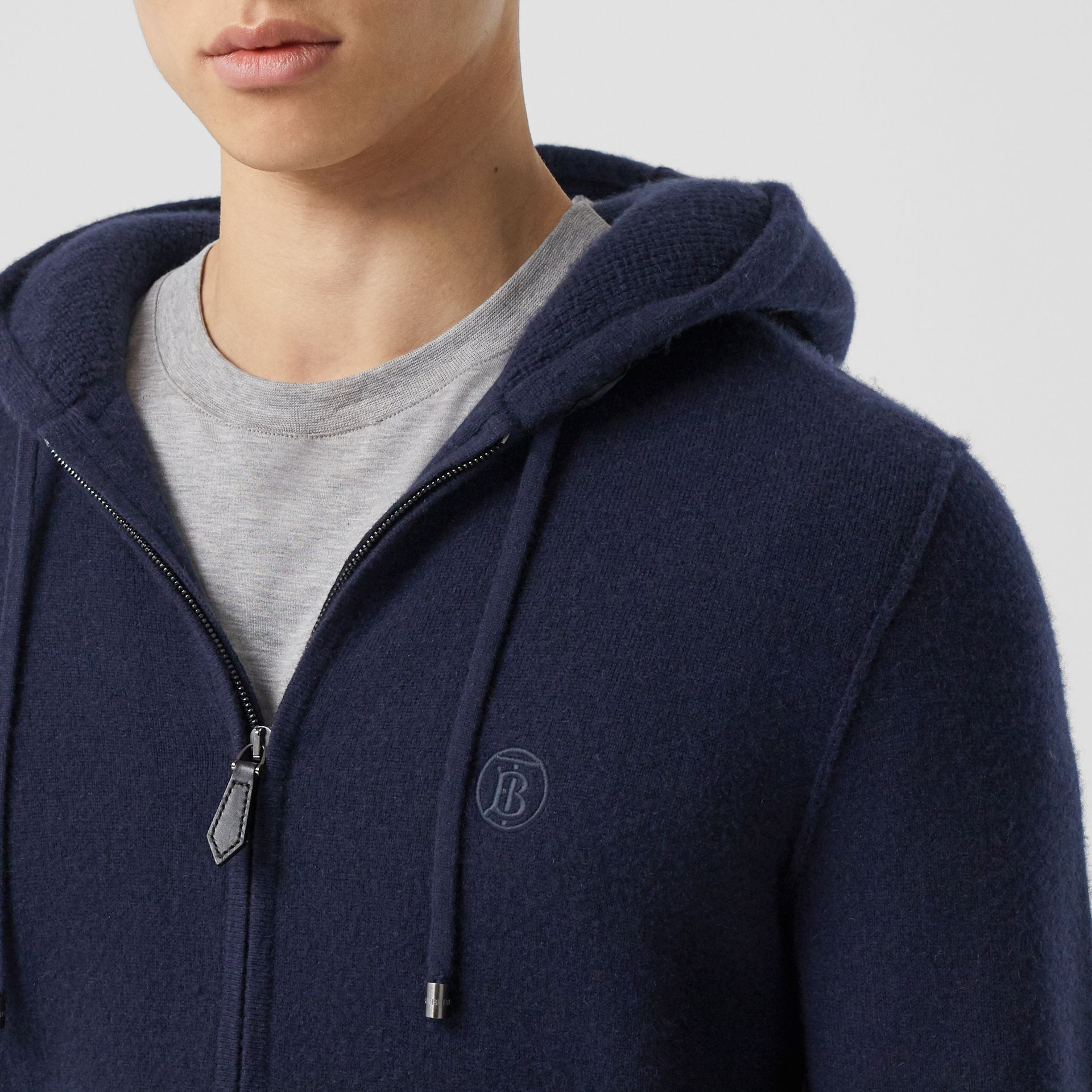 Monogram Motif Cashmere Blend Hooded Top in Navy - Men | Burberry - gallery image 1