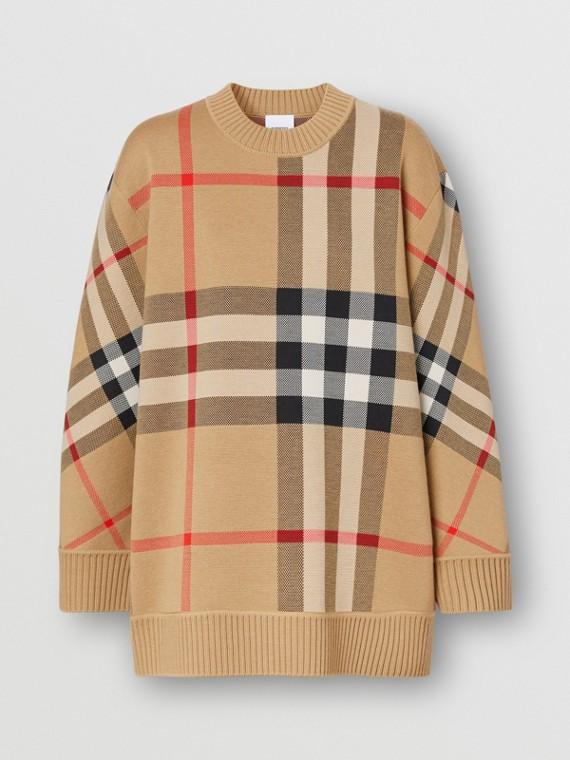 Pullover aus technischer Wolle mit Karomuster (Vintage-beige)