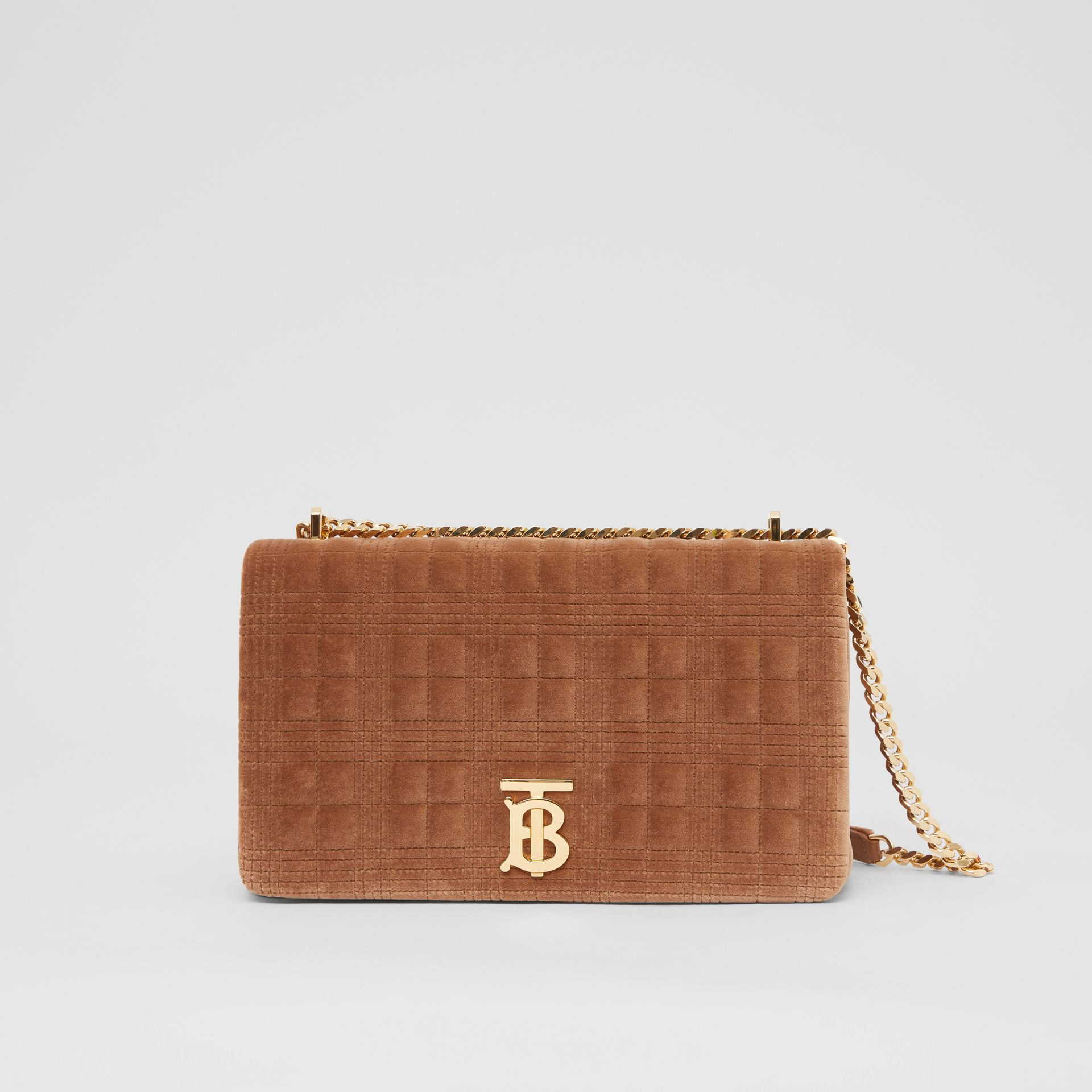 Medium Quilted Velvet Lola Bag in Fawn - Women | Burberry United States - gallery image 0