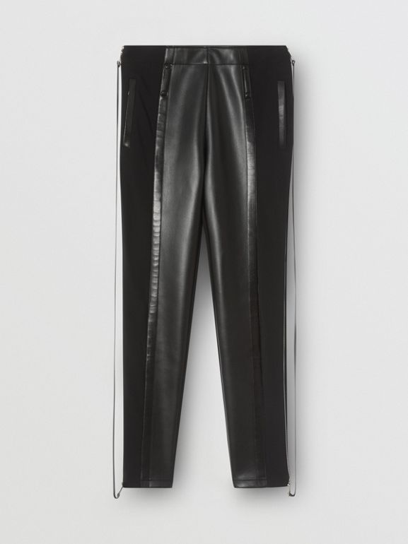Zip Detail Stretch Crepe Jersey Leggings | Burberry United Kingdom - cell image 1