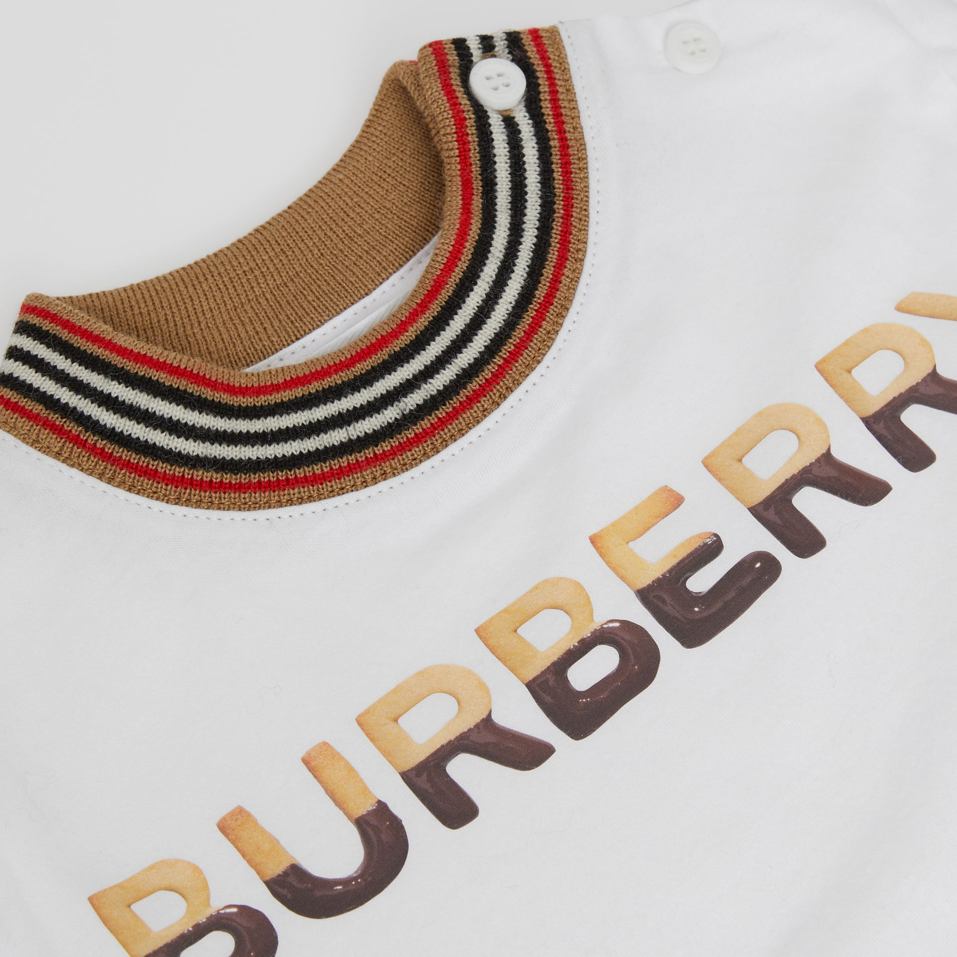 Confectionery Logo Print Cotton T-shirt in White - Children | Burberry - gallery image 1