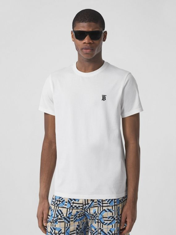 Camiseta de algodão com estampa de monograma (Branco)