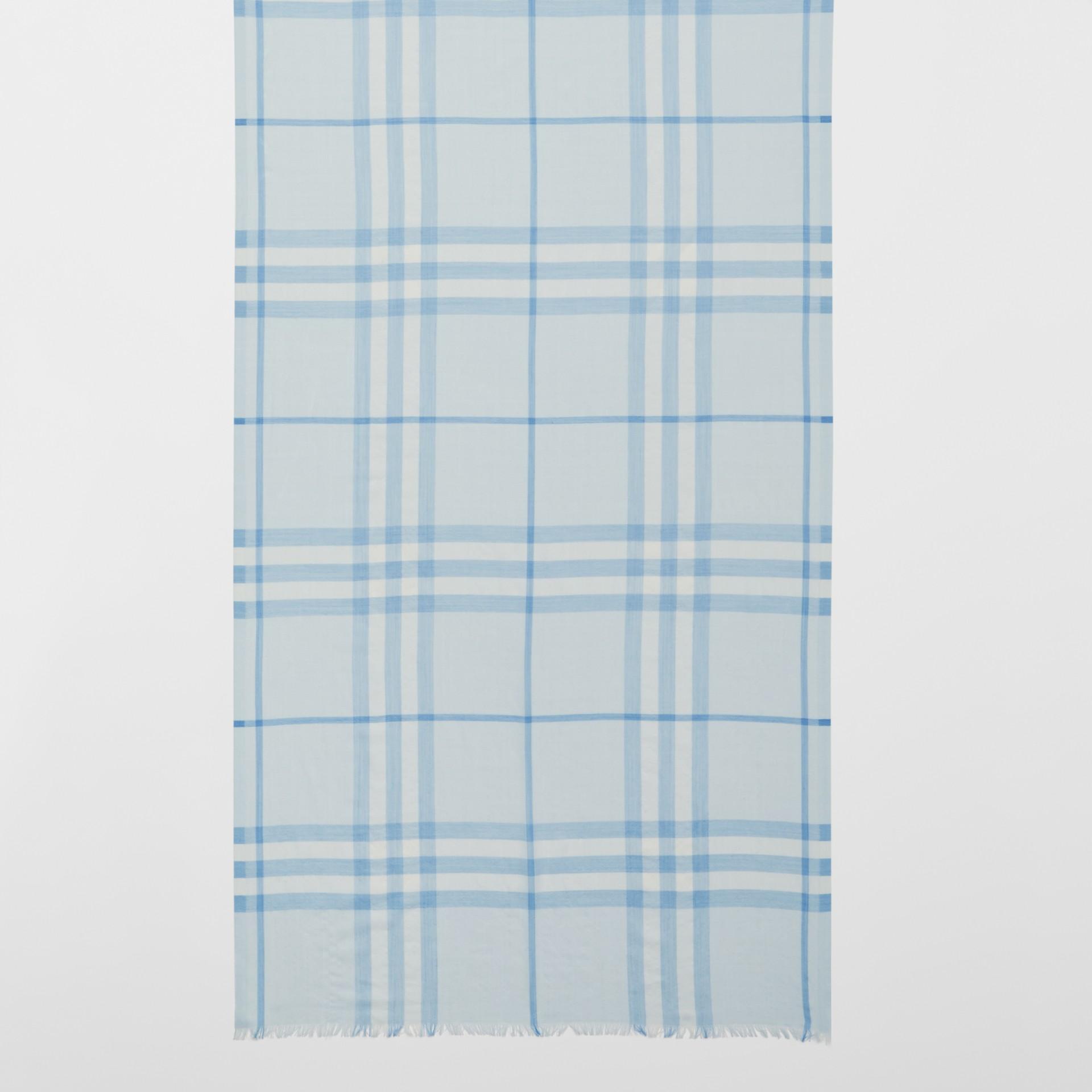 Lightweight Check Wool Silk Scarf   Burberry United Kingdom - gallery image 2