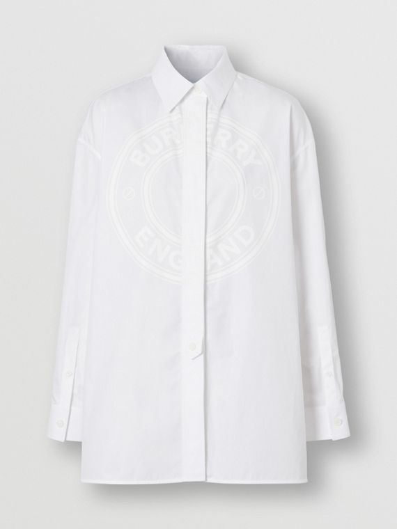 Logo Graphic Cotton Oxford Oversized Shirt in Optic White