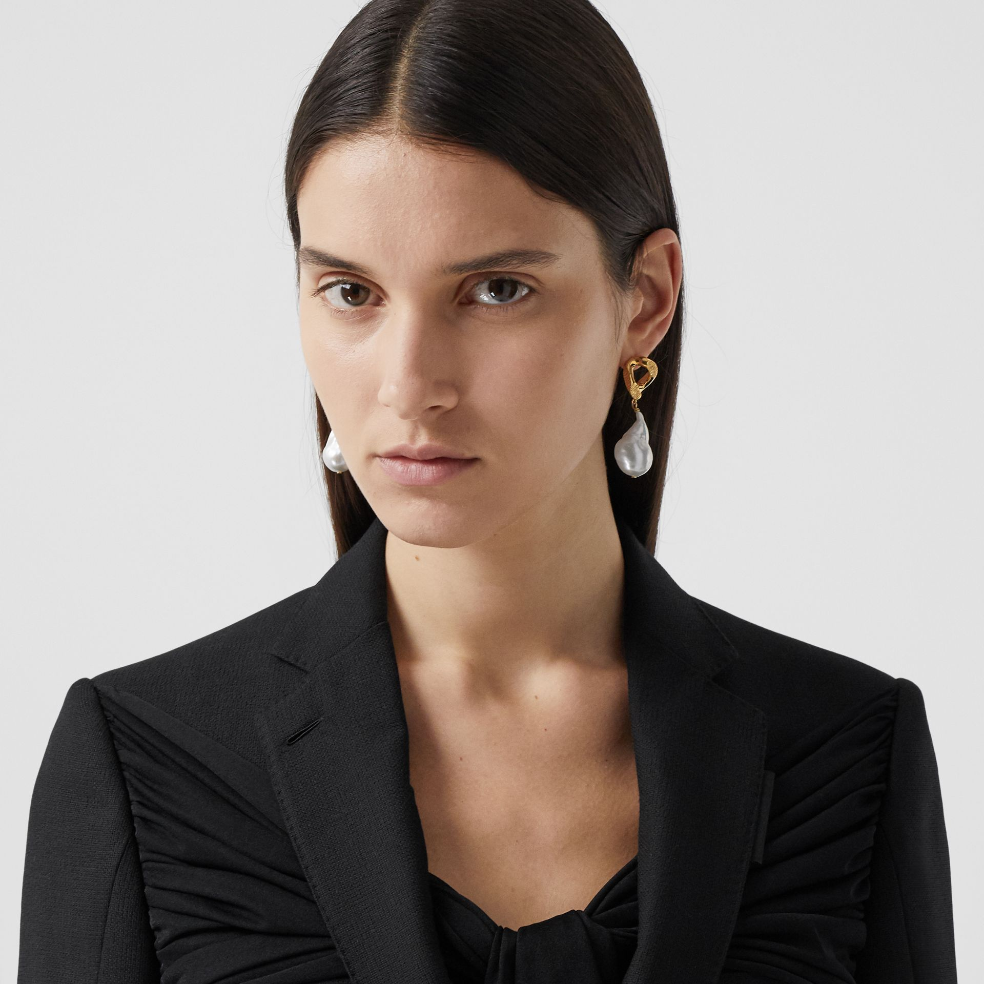 Jersey Sash Detail Wool Tailored Jacket in Black - Women | Burberry - gallery image 1
