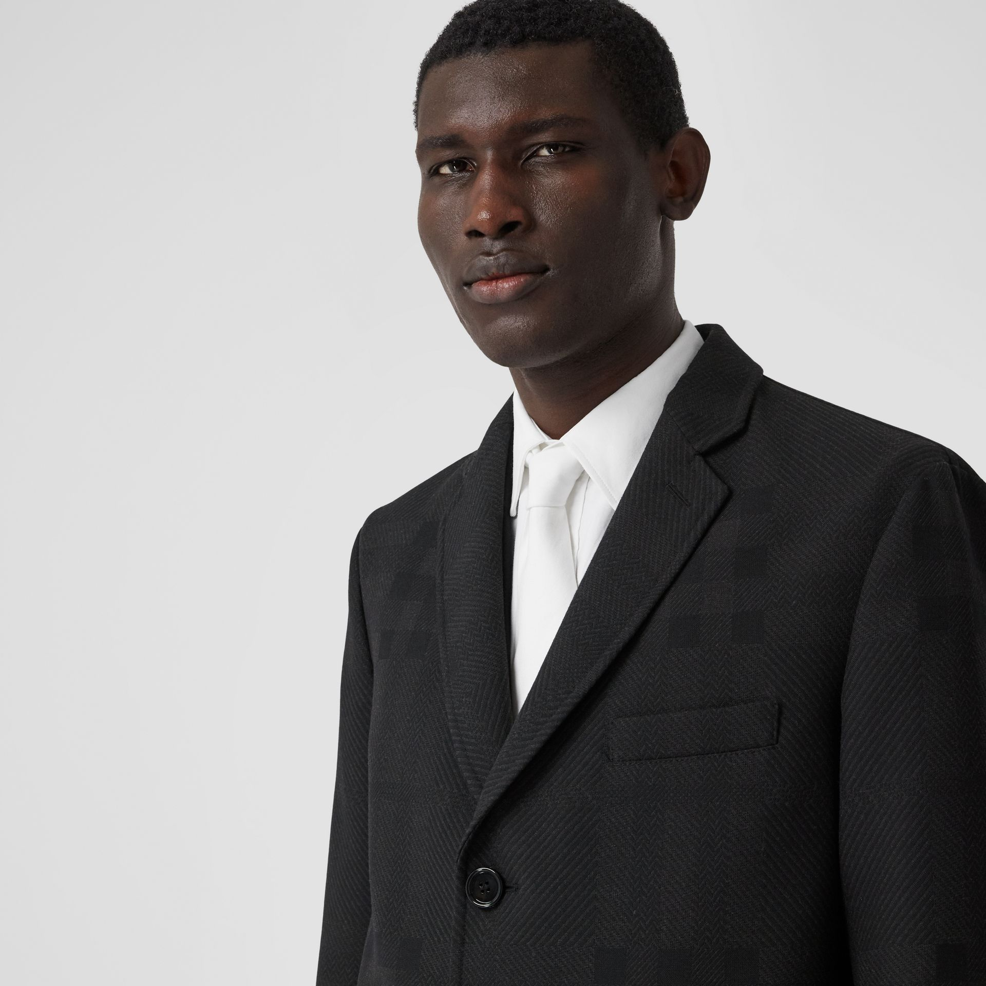 Check Wool Jacquard Tailored Coat in Charcoal Black - Men | Burberry - gallery image 1