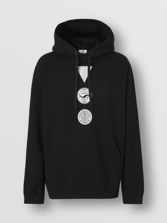 Badge Print Cotton Hoodie in Black