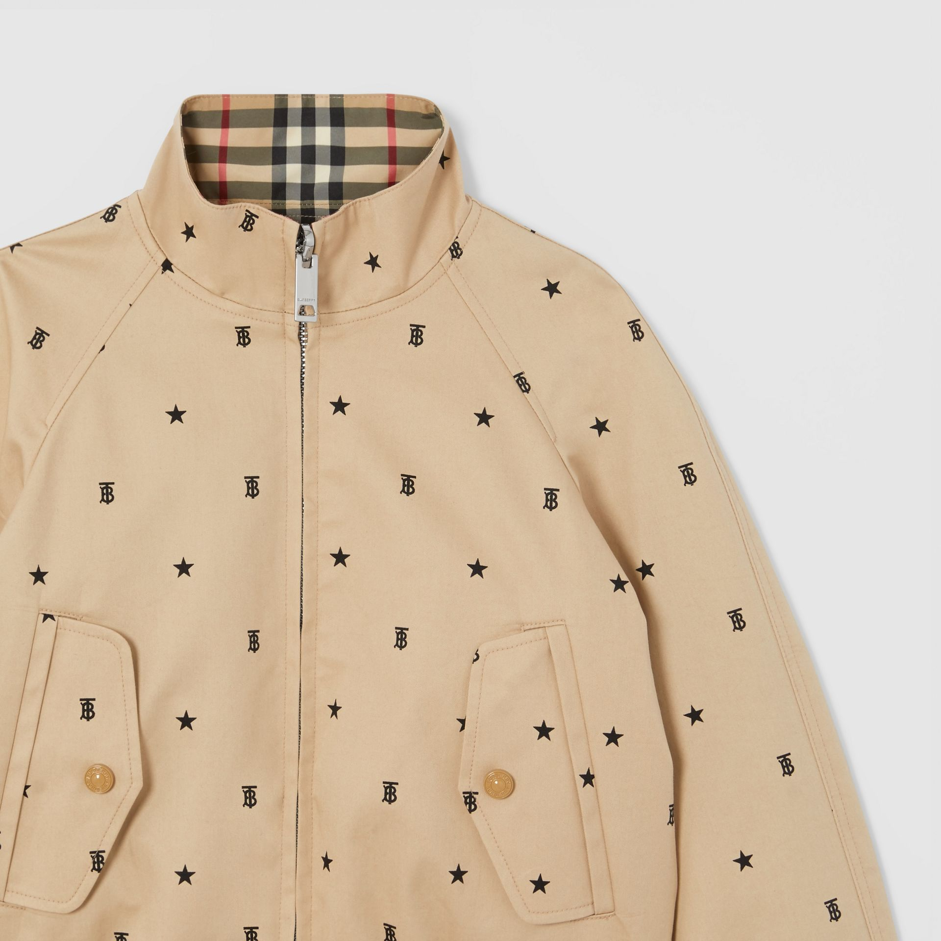 Reversible Star and Monogram Motif Cotton Jacket in Sand | Burberry - gallery image 5