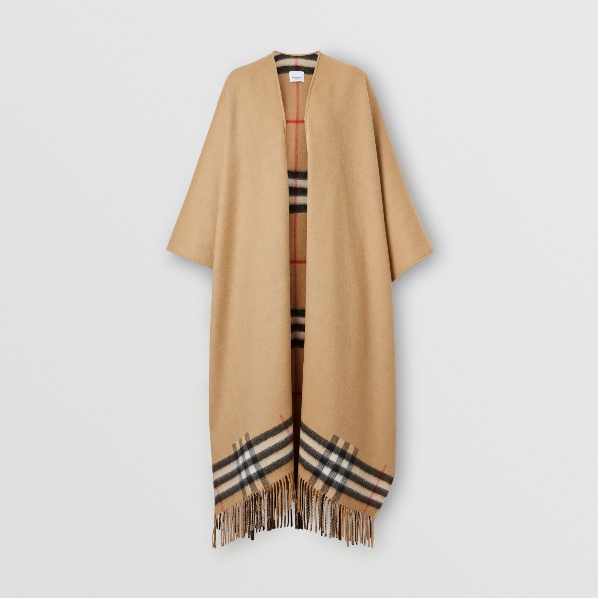 Check-lined Cashmere Merino Wool Cape in Archive Beige - Women | Burberry - gallery image 3
