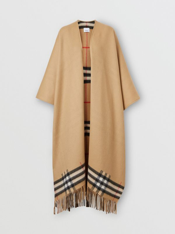 Check-lined Cashmere Merino Wool Cape in Archive Beige - Women | Burberry - cell image 3