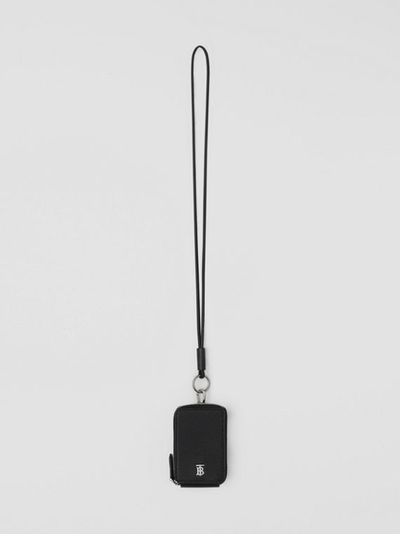 Grainy Leather Card Case Lanyard in Black