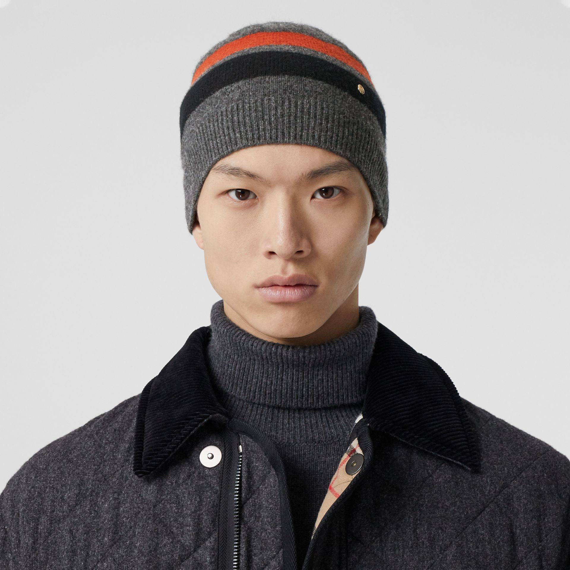 Monogram Motif Merino Wool Cashmere Beanie in Dark Grey | Burberry - gallery image 3