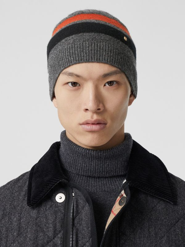 Monogram Motif Merino Wool Cashmere Beanie in Dark Grey | Burberry - cell image 3