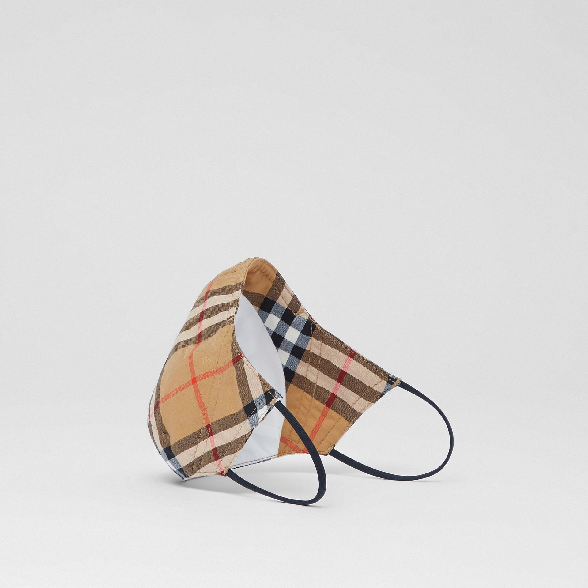 Vintage Check Cotton Face Mask in Antique Yellow | Burberry - gallery image 1