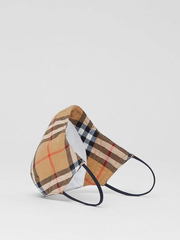 Vintage Check Cotton Face Mask in Antique Yellow | Burberry - cell image 1