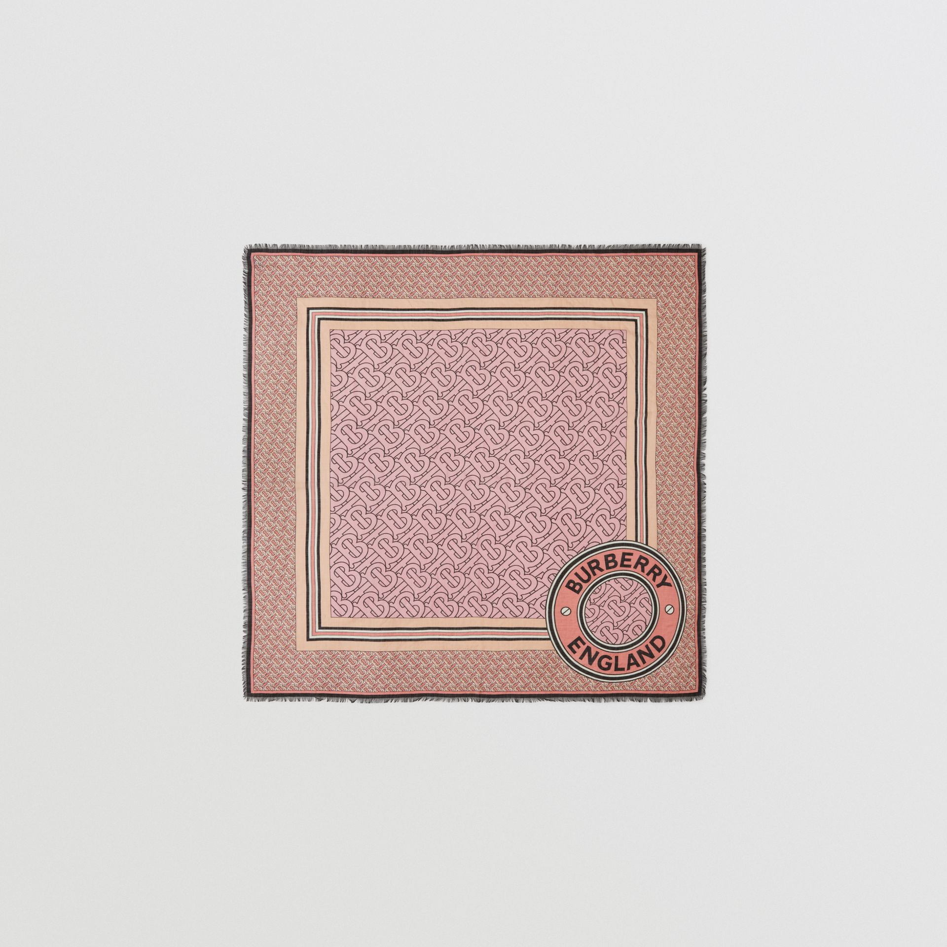 Monogram Print Wool Silk Large Square Scarf in Candy Pink | Burberry - gallery image 0