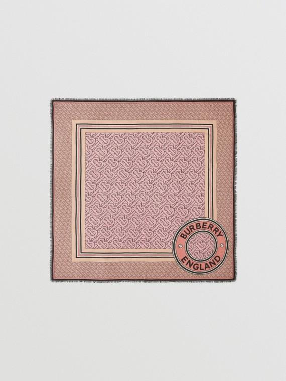 라지 모노그램 프린트 울 실크 스퀘어 스카프 (캔디 핑크)