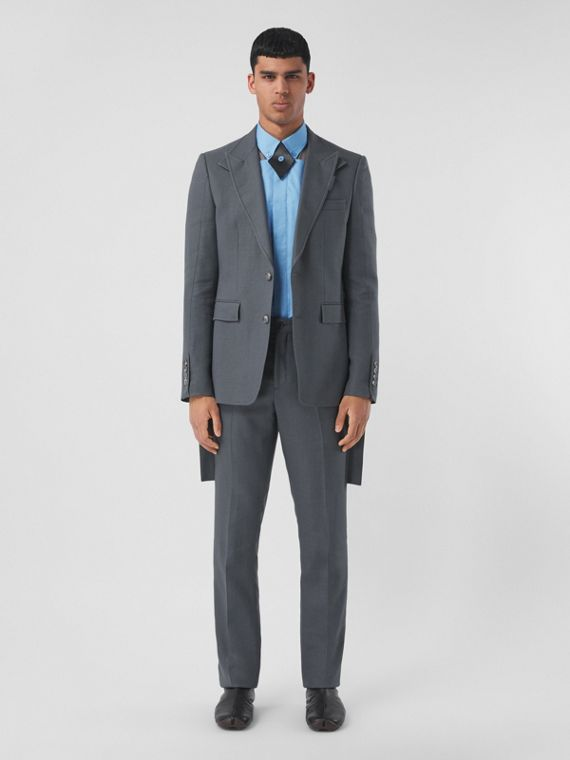 Panel Detail Wool Ramie Tailored Trousers in Tempest Grey